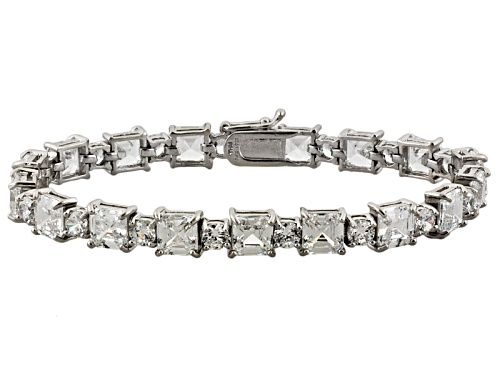 Photo of Pre-Owned Bella Luce ® 36.00ctw Asscher & Round Diamond Simulant Rhodium Over Silver Bracelet (19.46 - Size 7.25