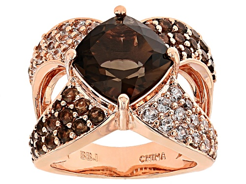 Photo of Pre-Owned Timna Jewelry Collection™ 4.62ctw Smoky Quartz With 1.05ctw White Zircon Copper Ring - Size 7