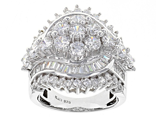 Photo of Pre-Owned Bella Luce ® 6.77ctw Diamond Simulant Rhodium Over Sterling Silver Ring (4.71ctw Dew) - Size 6