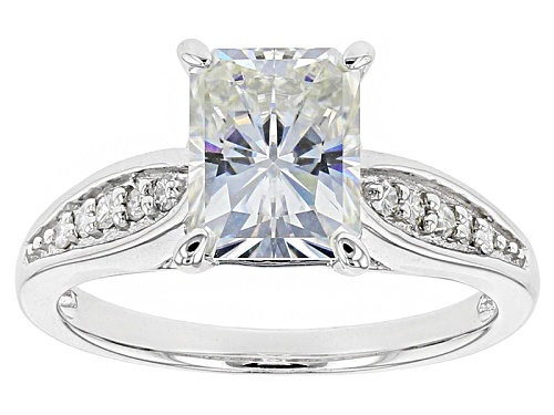 Photo of Pre-Owned Moissanite Fire® 2.90ctw Dew Radiant Cut And Round Platineve™ Ring - Size 7
