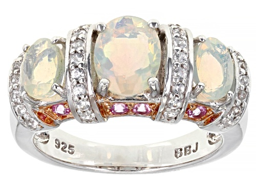 Photo of Pre-Owned 1.38ctw Oval Ethiopian Opal, .17ctw Round Pink Sapphire, .40ctw Round White Zircon Silver - Size 7