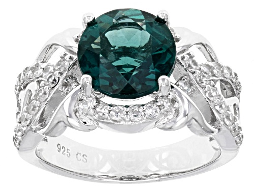Pre-Owned 3.25ct Round Teal Fluorite And .80ctw Round White Zircon Sterling Silver Ring - Size 7