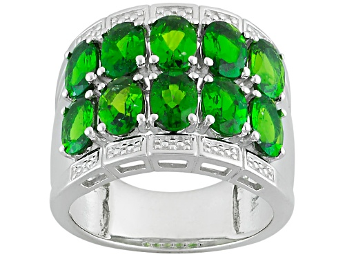 Photo of Pre-Owned 4.08ctw Oval Russian Chrome Diopside Sterling Silver Band Ring - Size 6