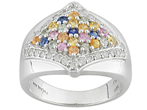 Photo of Pre-Owned .63ctw Round Multi-Sapphire And .51ctw Round White Zircon Sterling Silver Ring - Size 5