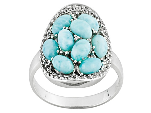 Photo of Pre-Owned Oval Larimar And .20ctw Round White Topaz Sterling Silver Ring - Size 12