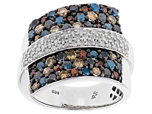 Photo of 2.00ctw Round Multi-Colored Diamond Rhodium Over Sterling Silver Cluster Ring - Size 5
