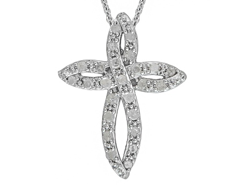 """Photo of .50ctw Round White Diamond Rhodium Over Sterling Silver Cross Pendant With 18"""" Chain"""