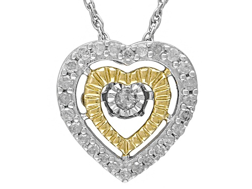 "Photo of .20ctw Round White Dancing Diamond Rhodium Over Sterling Silver Heart Pendant With 18"" Chain"