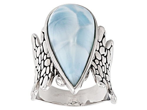 Photo of 24.50x11.00mm Cabochon Pear Shape Larimar Sterling Silver Solitaire Ring - Size 5