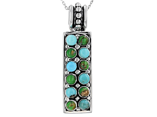 Photo of 3mm Cabochon Round Blue And Green Mexican Turquoise Sterling Silver Pendant With Chain