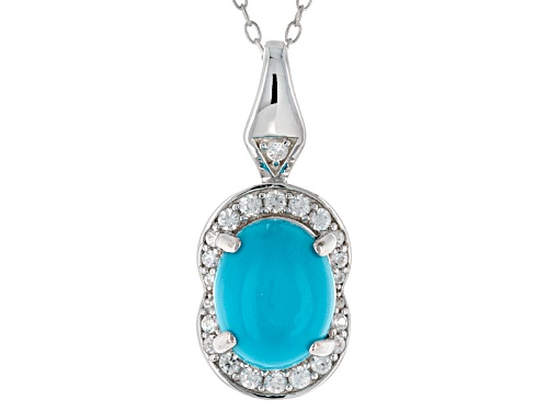 Photo of 10x8mm Oval Sleeping Beauty Turquoise And .32ctw White Zircon Sterling Silver Pendant With Chain