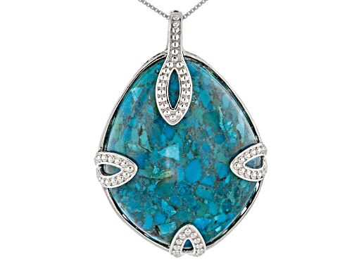 Photo of 40x32mm Fancy Cut Cabochon Blue Turquoise Sterling Silver Solitaire Pendant With Chain