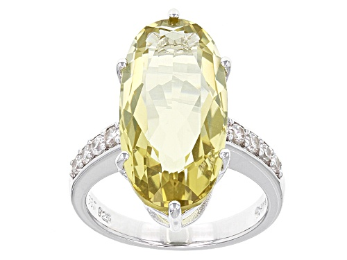 Photo of 8.80ct Oval Canary Yellow Quartz And .38ctw Round White Zircon Sterling Silver Ring - Size 11