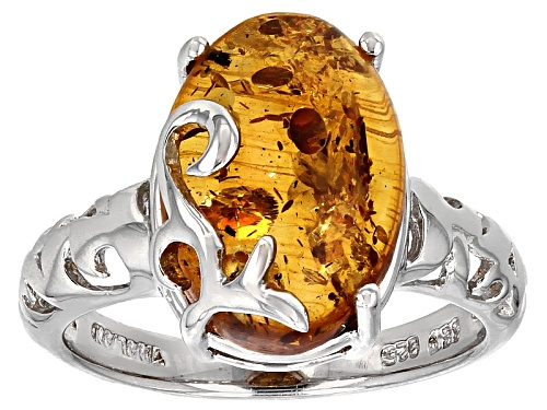 Photo of 14x10mm Oval Cabochon Orange Polish Amber Solitaire Rhodium Over Sterling Silver Ring - Size 8