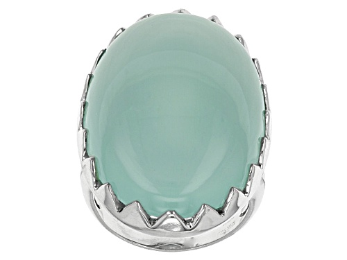 Photo of 30x20mm Cabochon Oval Aqua Color Chalcedony Sterling Silver Solitaire Ring - Size 7