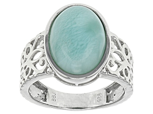 Photo of 14x10mm Oval Blue Larimar Cabochon Sterling Silver Ring - Size 6