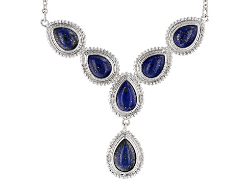 "Photo of 12x8mm, 11x7mm And 10x7mm Pear Shape Cabochon Lapis Lazuli Sterling Silver ""Y"" Necklace - Size 18"