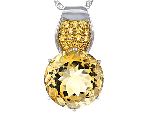 Photo of 11.26ct Golden Brazilian Citrine With .51ctw Yellow Sapphire Rhodium Over Silver Pendant With Chain