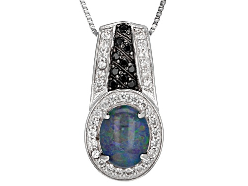 Photo of 10x8mm Australian Opal Triplet, .69ctw White Zircon & .14ctw Black Spinel Silver Pendant With Chain