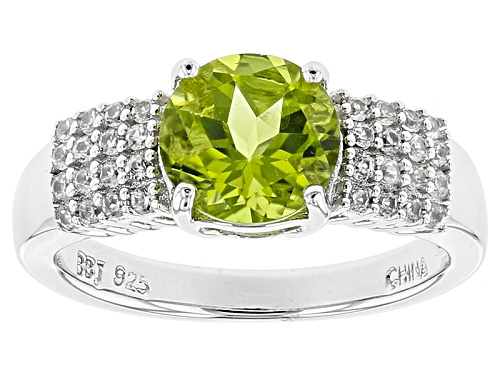 Photo of 1.77ct Round Manchurian Peridot™ With .42ctw White Zircon Sterling Silver Ring - Size 11