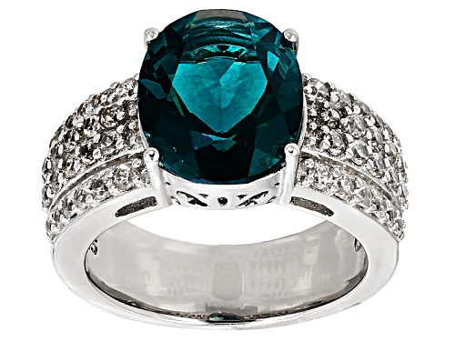 Photo of 5.19ct Oval Teal Fluorite With 1.23ctw Round White Zircon Sterling Silver Ring - Size 9