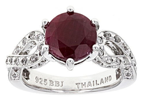 Photo of 2.40ct Indian Round Ruby With .32ctw Round White Zircon Sterling Silver Ring - Size 11