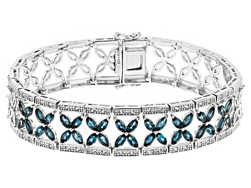 Photo of 6.12ctw Marquise London Blue Topaz And .64ctw Round White Zircon Sterling Silver Bracelet - Size 8