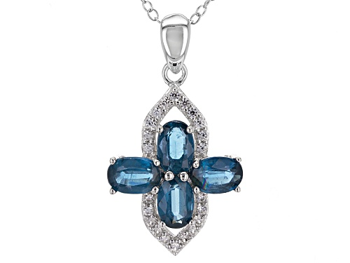 Photo of 2.00ctw Oval Blue Kyanite And .20ctw Round White Zircon Sterling Silver Pendant With Chain