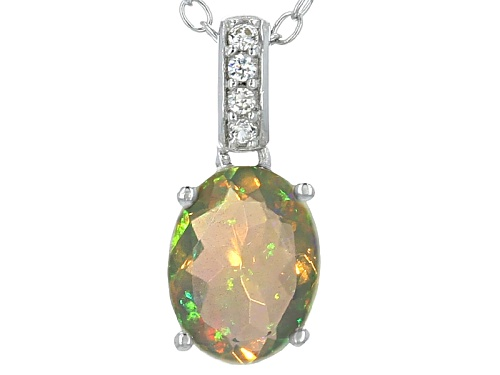 Photo of .63ct Oval Ethiopian Opal And .08ctw Round White Zircon Sterling Silver Pendant With Chain