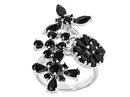 Photo of 3.52ctw Black Spinel Sterling Silver Floral Ring - Size 6