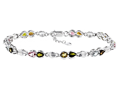 Photo of 4.62ctw Pear Shape Yellow, Orange, Pink And Green Tourmaline Sterling Silver Bracelet - Size 8