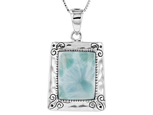 Photo of 20x15mm Cushion Cabochon Larimar Sterling Silver Solitaire Enhancer With Chain