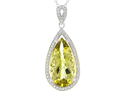 Photo of 6.80ct Pear Shape Canary Yellow Quartz And .32ctw White Zircon Sterling Silver Pendant With Chain