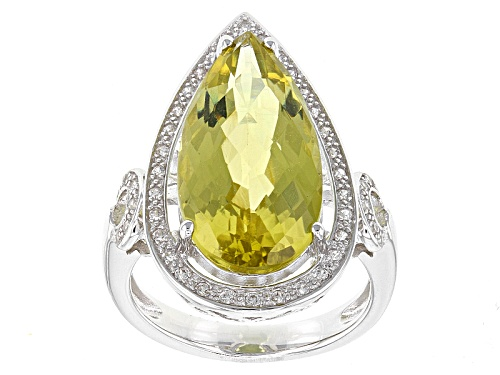 Photo of 6.50ct Pear Shape Canary Yellow Quartz And .32ctw Round White Zircon Sterling Silver Ring - Size 8