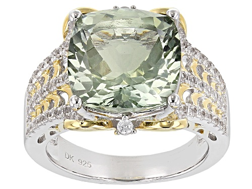 Photo of 5.53ct Square Cushion Prasiolite And .41ctw Round White Zircon Two-Tone Sterling Silver Ring - Size 9