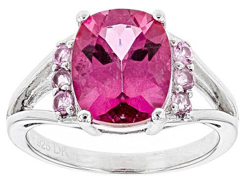 Photo of 1.93ct Rectangular Cushion Pink Danburite And .18ctw Round Pink Sapphire Sterling Silver Ring - Size 8