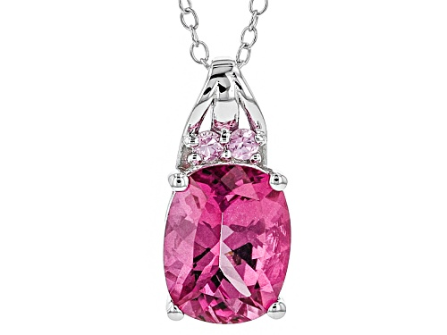 Photo of 1.93ct Pink Danburite And .06ctw Pink Sapphire Sterling Silver Pendant With Chain