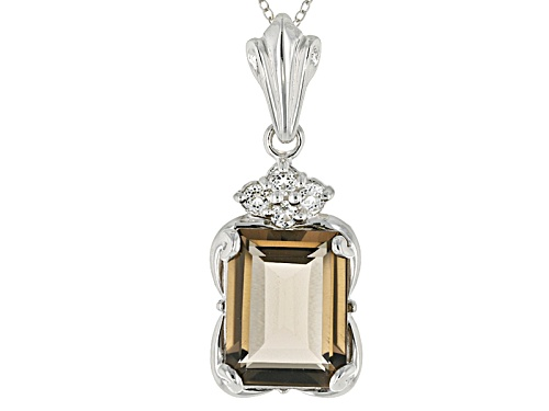 Photo of 9.13ct Emerald Cut Smoky Quartz And .37ctw Round White Topaz Sterling Silver Pendant With Chain