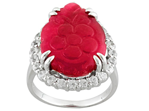 Photo of 20x15mm Pear Shape Carved Red Onyx With 1.30ctw Round White Zircon Sterling Silver Floral Ring - Size 7