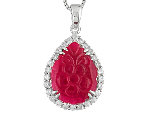 Photo of 20x15mm Hand Carved Red Onyx With 1.30ctw White Zircon Rhodium Over Silver Floral Pendant With Chain