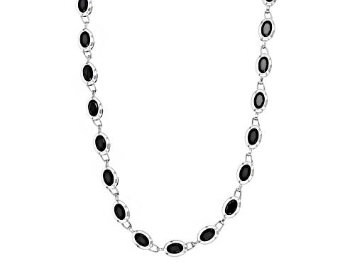 Photo of 16.43ctw Oval Black Spinel Sterling Silver Necklace - Size 18