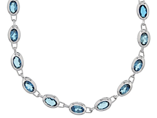 Photo of 19.00ctw Oval London Blue Topaz Sterling Silver Necklace - Size 18