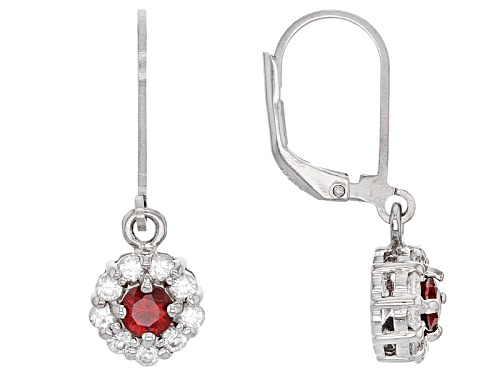 Photo of .45ctw Round Anthill Garnet And .90ctw Round White Zircon Sterling Silver Dangle Earrings