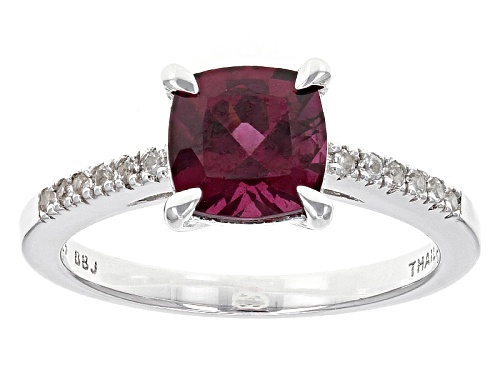 Photo of 1.43ct Square Cushion Raspberry color Rhodolite With .10ctw Round White Zircon Sterling Silver Ring - Size 12