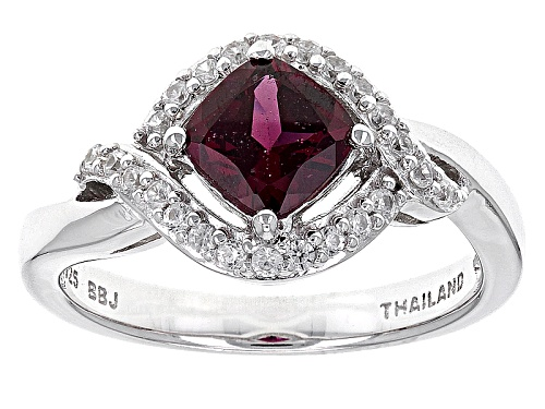 .85ct Square Cushion Raspberry Color Rhodolite With .21ctw Round White Zircon Sterling Silver Ring - Size 7