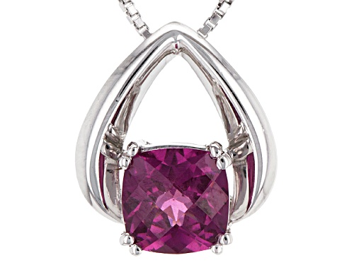 1.50ct Square Cushion Checkerboard Cut Raspberry Color Rhodolite Sterling Silver Pendant With Chain