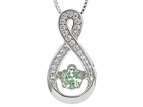 Photo of .45ct Dancing Round Tsavorite And .23ctw Round White Zircon Sterling Silver Pendant With Chain