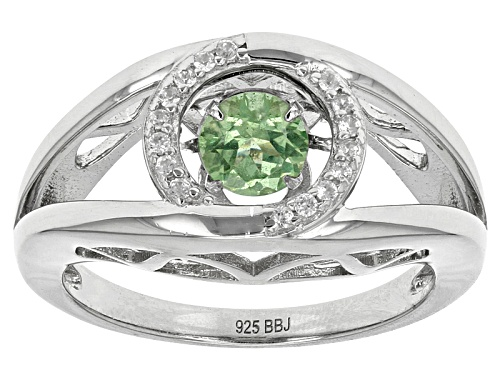 Photo of .45ct Dancing Round Tsavorite And .13ctw Round White Zircon Sterling Silver Ring - Size 7