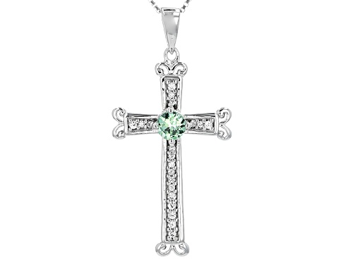 Photo of .32ct Round Tsavorite And .13ctw Round White Zircon Sterling Silver Cross Pendant And Chain
