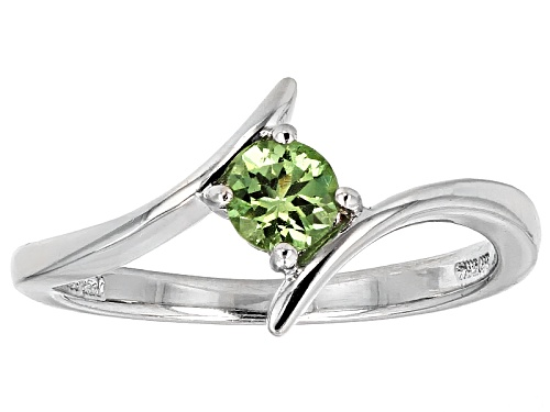 Photo of .32ct Round Tsavorite Sterling Silver Solitaire Ring - Size 7